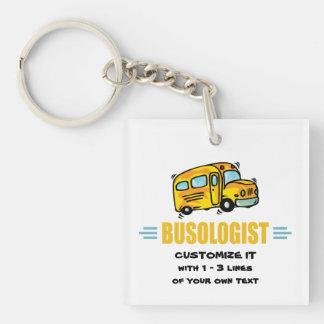 Autobús escolar divertido llavero cuadrado acrílico a una cara