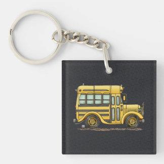 Autobús escolar lindo llavero cuadrado acrílico a una cara