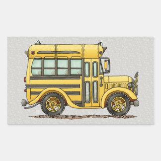 Autobús escolar lindo pegatina rectangular