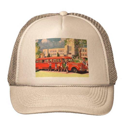 Autobús escolar retro del rojo del niño de la escu gorro