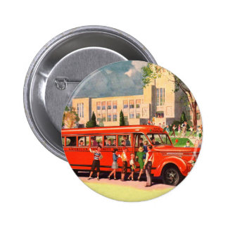 Autobús escolar retro del rojo del niño de la escu pin redondo 5 cm
