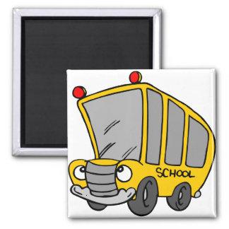 Autobús escolar tonto imán cuadrado