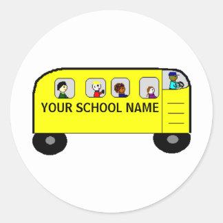 AUTOBÚS ESCOLAR - un su producto de la escuela - Etiquetas Redondas