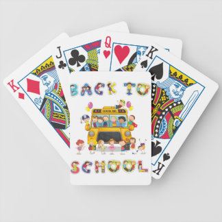 autobús escolar y palabra inglesa de nuevo a baraja de cartas