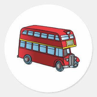 Autobús lindo del autobús de dos pisos pegatina redonda