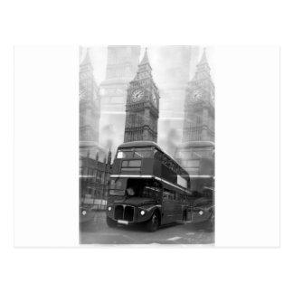 Autobús negro y blanco de BW Big Ben de Londres y Postales