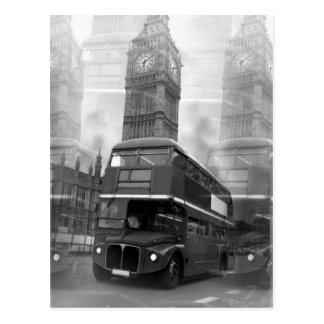 Autobús negro y blanco de BW Big Ben de Londres y Tarjeta Postal