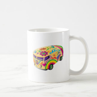 Autobús pintado psicodélico colorido taza de café