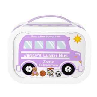 Autobús púrpura del almuerzo escolar