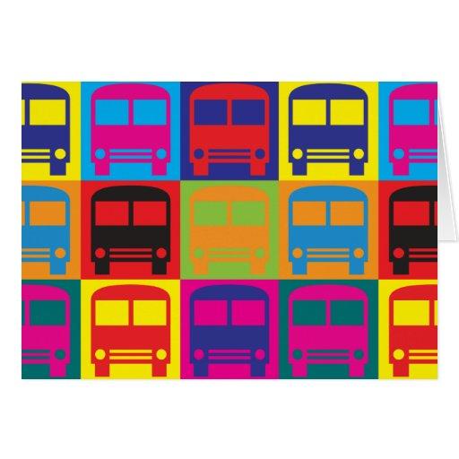 Autobús que conduce arte pop tarjetón