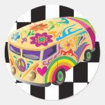 Autobús retro pegatina redonda