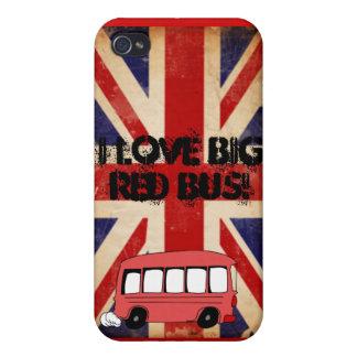 autobús rojo grande iPhone 4/4S carcasa