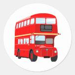 Autobús rojo pegatinas redondas