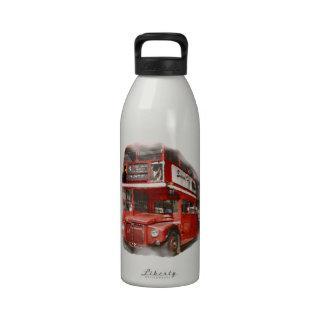 Autobús rojo viejo de Londres Botellas De Beber