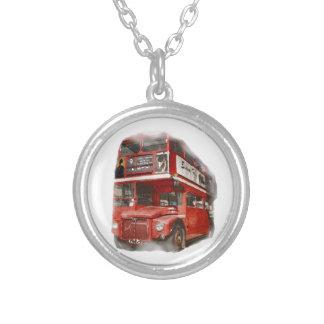 Autobús rojo viejo de Londres Colgante Redondo
