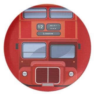 Autobús rojo viejo del autobús de dos pisos de platos para fiestas