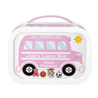 Autobús rosado del almuerzo escolar