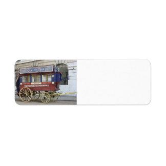 Autobús traído por caballo del vintage, Londres Etiqueta De Remitente