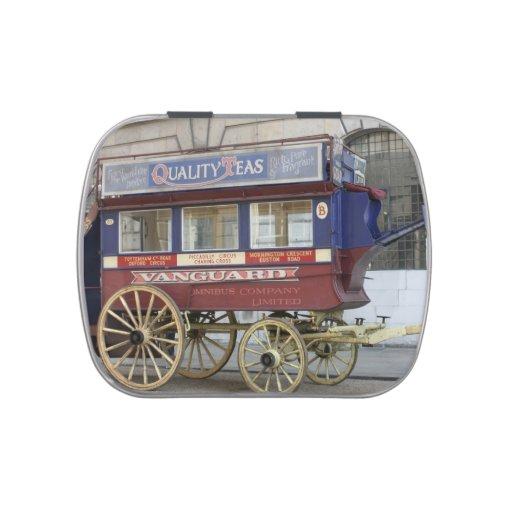 Autobús traído por caballo del vintage, Londres Jarrones De Caramelos