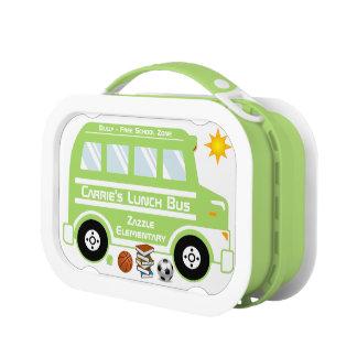 Autobús verde del almuerzo escolar