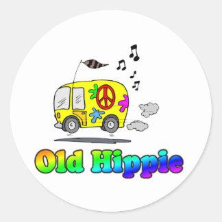Autobús viejo del Hippie Pegatina Redonda