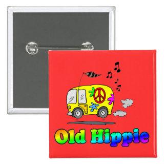 Autobús viejo del Hippie Pin Cuadrado