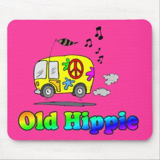 Autobús viejo del Hippie Tapetes De Raton