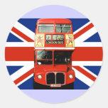Autobús y bandera británica 3 de los pegatinas del