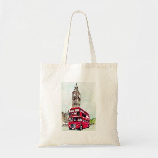 Autobús y Big Ben de Londres Bolsa Tela Barata