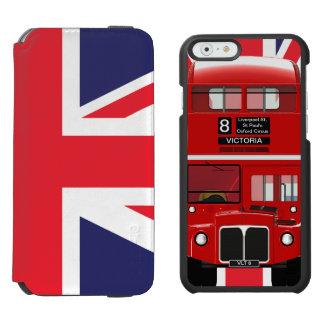 Autobús y Union Jack de Londres del vintage Funda Cartera Para iPhone 6 Watson