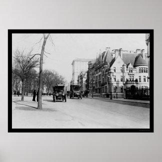 Autobuses en la Quinta Avenida, New York City 1913 Póster