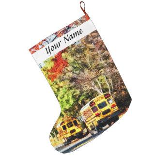 Autobuses escolares parqueados calcetín de navidad grande