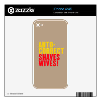 Autocorrect Shaves Wives, Custom Background Color Decal For The iPhone 4