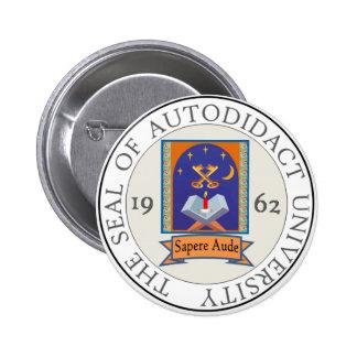 Autodidact University Seal Pinback Button