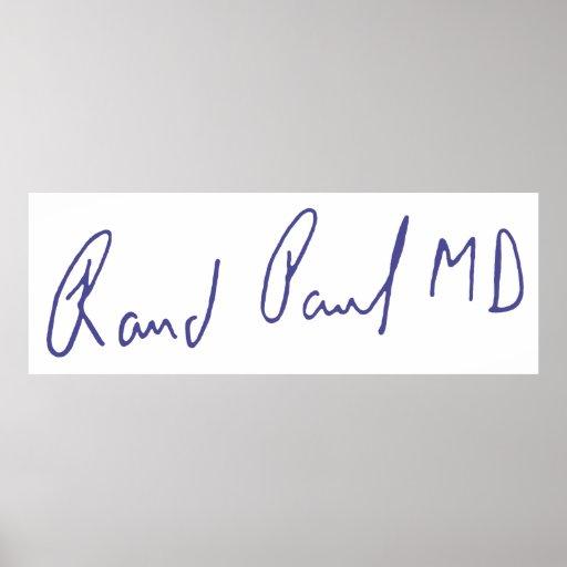 Autógrafo de la firma del MD de Paul del rand Póster