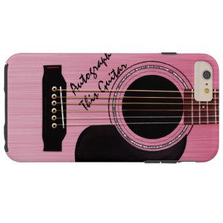 Autógrafo rosado del personalizado de la guitarra funda para iPhone 6 plus tough