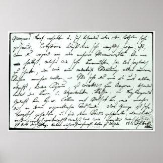 Autograph letter from Franz Schubert Poster