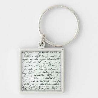 Autograph letter from Franz Schubert Silver-Colored Square Keychain