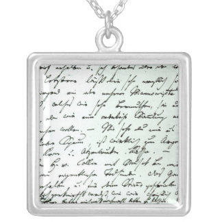 Autograph letter from Franz Schubert Silver Plated Necklace