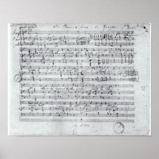 Autograph score for the lied 'Des Sangers Habe' Poster
