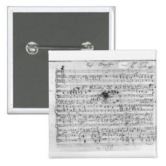 Autograph score for the lied 'Trost' 2 Inch Square Button