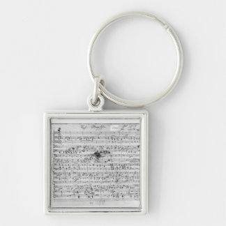 Autograph score for the lied 'Trost' Silver-Colored Square Keychain