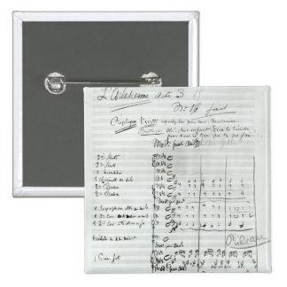 Autograph Score of Act III 2 Inch Square Button
