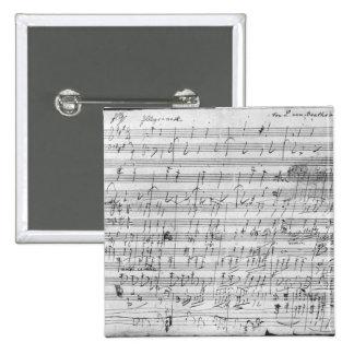 Autograph score sheet for the  Bagatelle opus Button