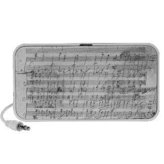 Autograph score sheet for the  Bagatelle opus Mini Speaker