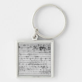 Autograph score sheet for the Trio mi bemol opus Silver-Colored Square Keychain