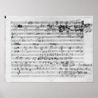 Autograph score sheet for the Trio mi bemol opus Poster