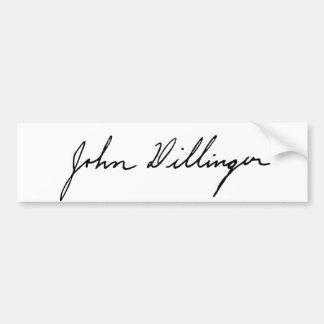 Autograph Signature of John Dillinger Bumper Sticker