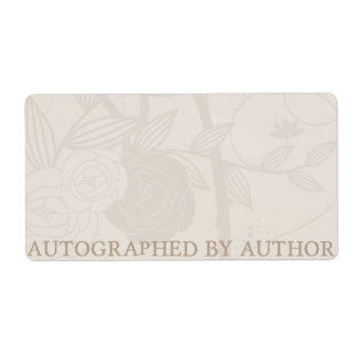 Autographed by Author Bookplate Cream Flower Custom Shipping Labels