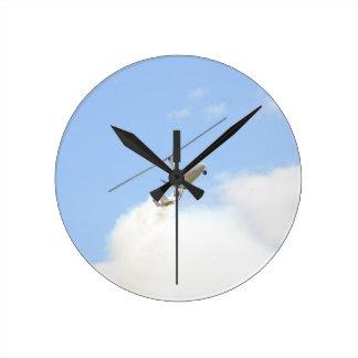 Autogyro In Flight Round Clock